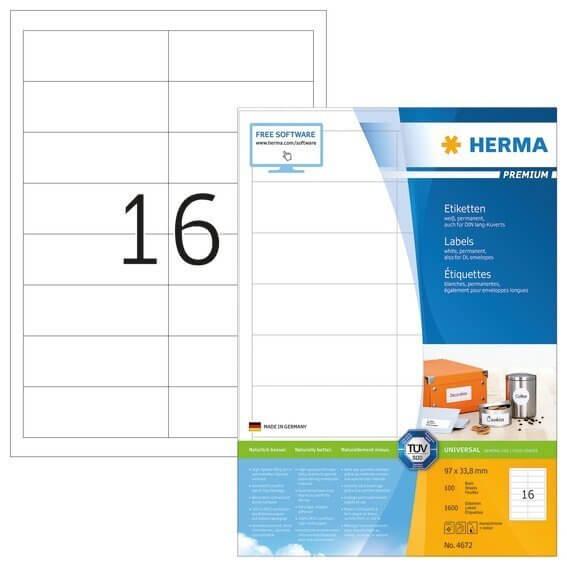 HERMA 4672 Etiketten Premium A4 97x338 mm weiß Papier matt 1600 Stück