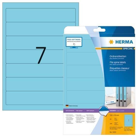 HERMA 5093 Ordneretiketten A4 192x38 mm blau Papier matt blickdicht 140 Stück
