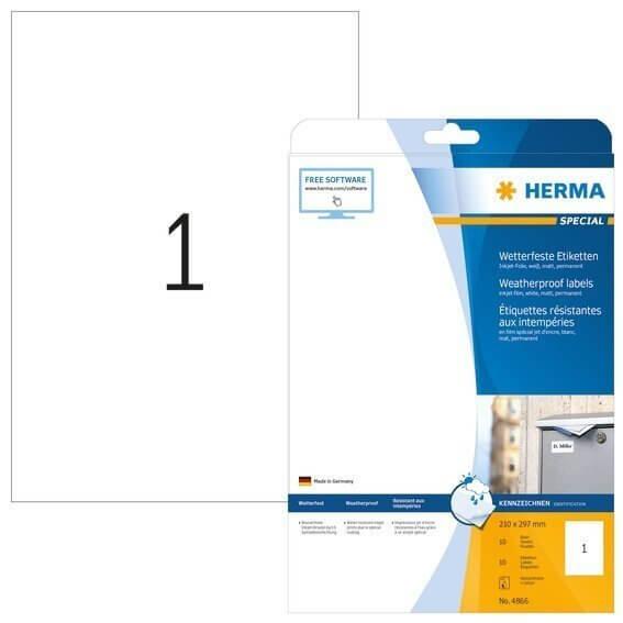 HERMA 4866 Inkjet-Etiketten A4 210x297 mm weiß Folie matt wetterfest 10 Stück