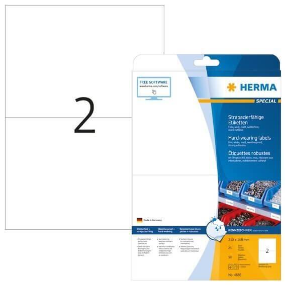 HERMA 4693 Etiketten strapazierfähig A4 210x148 mm weiß stark haftend Folie matt wetterfest 50 Stück