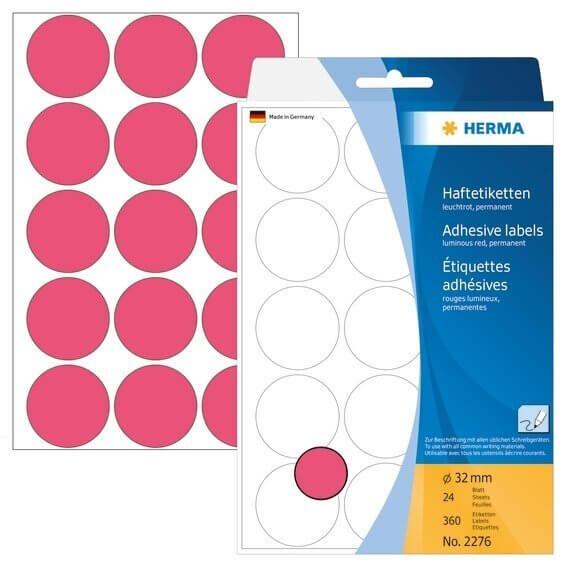 HERMA 2276 Vielzwecketiketten/Farbpunkte Ø 32 mm rund Papier matt Handbeschriftung 360 Stück Leuchtr