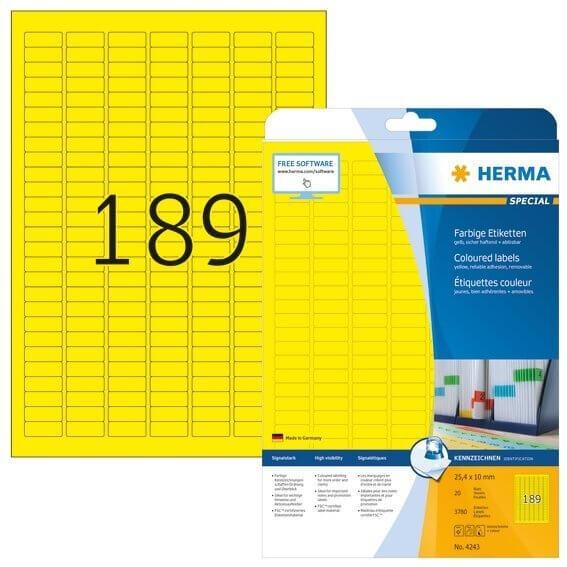HERMA 4243 Farbige Etiketten A4 254x10 mm gelb ablösbar Papier matt 3780 Stück