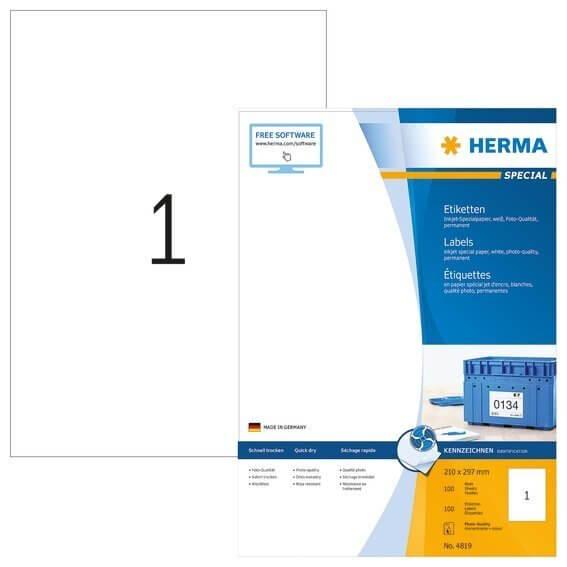 HERMA 4819 Inkjet-Etiketten A4 210x297 mm weiß Papier matt 100 Stück