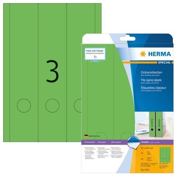 HERMA 5139 Ordneretiketten A4 61x297 mm grün Papier matt blickdicht 60 Stück