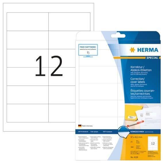 HERMA 4228 Korrektur-/Abdecketiketten A4 97x42,3 mm weiß Papier matt blickdicht 300 Stück