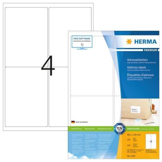 HERMA 4250 Adressetiketten Premium A4 991x139 mm weiß Papier matt 400 Stück