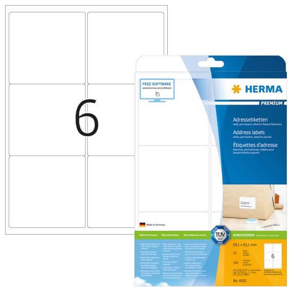 HERMA 4502 Adressetiketten Premium A4 991x931 mm weiß Papier matt 150 Stück