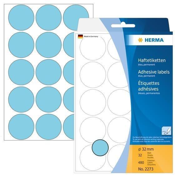 HERMA 2273 Vielzwecketiketten/Farbpunkte Ø 32 mm rund Papier matt Handbeschriftung 480 Stück Blau