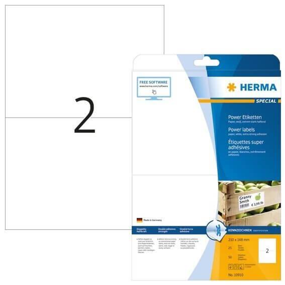HERMA 10910 Etiketten A4 210x148 mm weiß extrem stark haftend Papier matt 50 Stück