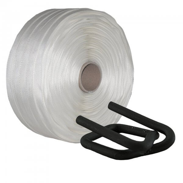 Umreifungsset 25 mm Textil gewebt Metallklemmen phosphatiert