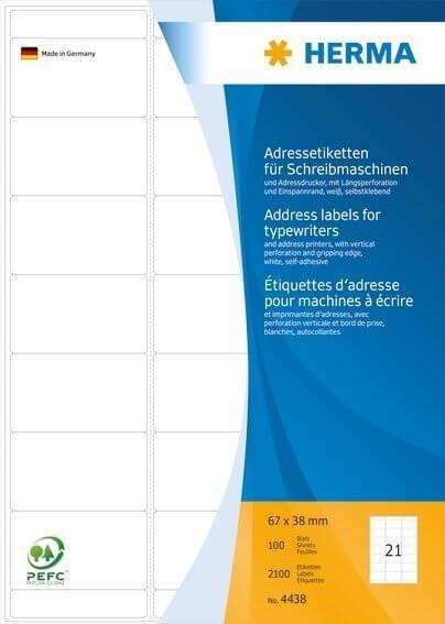 HERMA 4438 Adressetiketten für Schreibmaschinen A4 67x38 mm Papier matt Ecken rund 2100 Stück