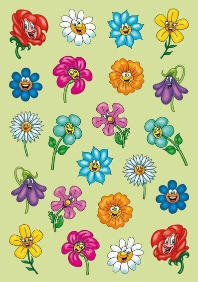 HERMA 6262 10x Sticker MAGIC Lustige Blumengesichter Puffy