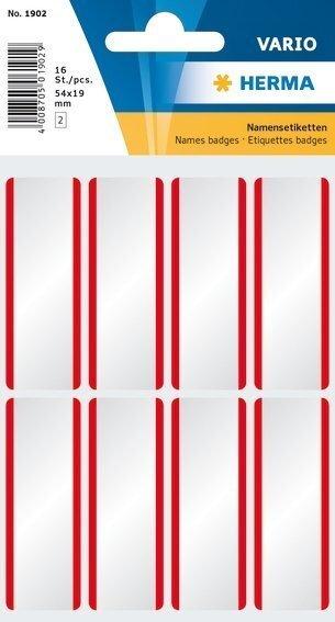 HERMA 1902 Namensetiketten 54 x 19 mm weiß/rote Streifen ablösbar Acetatseide 160 Stück