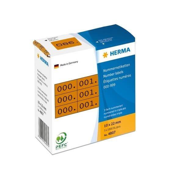 HERMA 4807 Nummernetiketten dreifach selbstklebend 10x22 mm braun/schwarz