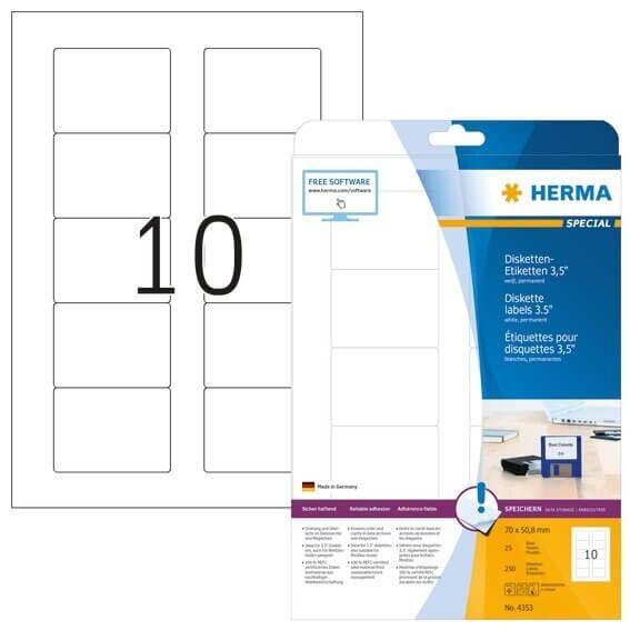 HERMA 4353 Disketten-Etiketten A4 70x508 mm weiß Papier matt 250 Stück