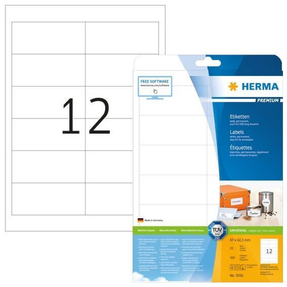 HERMA 5056 Etiketten Premium A4 97x423 mm weiß Papier matt 300 Stück