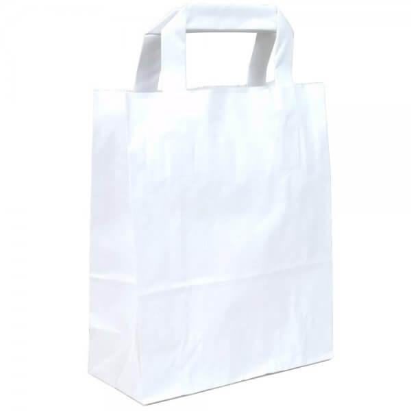 Papiertragetaschen 18 + 08 x 22 Weiß