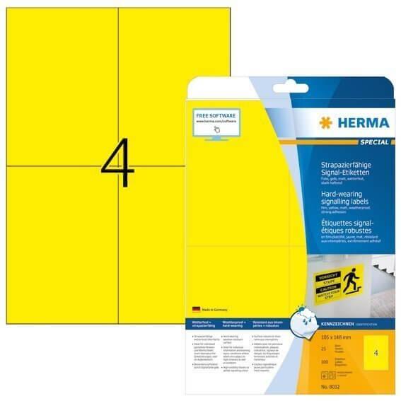 HERMA 8032 Signal-Schilder strapazierfähig A4 105x148 mm gelb stark haftend Folie matt wetterfest 10