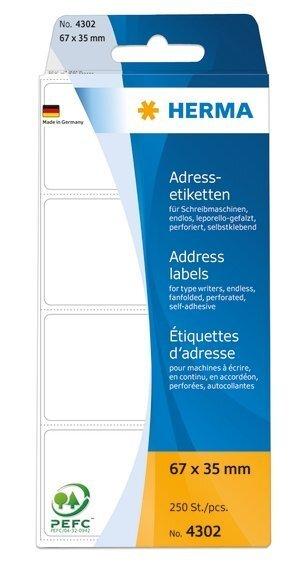 HERMA 4302 Adressetiketten für Schreibmaschinen endlos leporello-gefalzt 67x35 mm weiß Papier matt 2