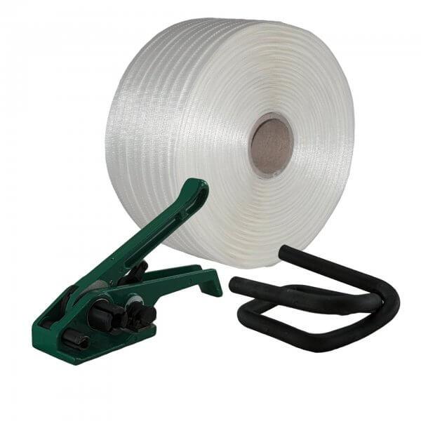 Umreifungsset 19 mm Textil gewebt Bandspanner Metallklemmen phosphatiert