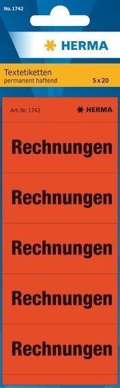 HERMA 1742 Textetiketten für Ordner Rechnungen 60 x 26 mm Papier matt 1000 Stück Rot