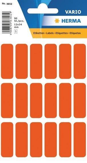 HERMA 3652 Vielzwecketiketten 12x34 mm rot Papier matt 900 Stück
