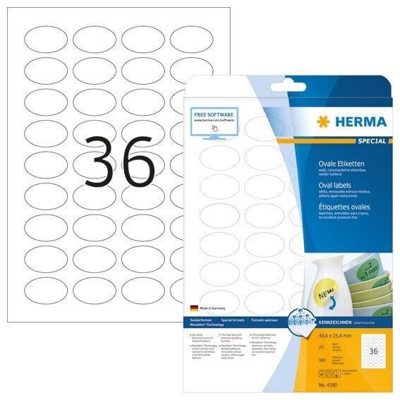 HERMA 4380 Ablösbare Etiketten A4 406x254 mm weiß oval Movables/ablösbar Papier matt 900 Stück