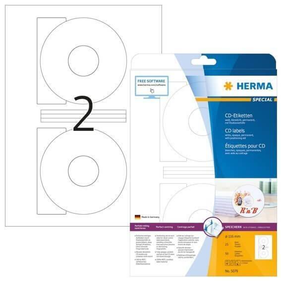 HERMA 5079 CD-Etiketten A4 Ø 116 mm weiß Papier matt blickdicht 50 Stück