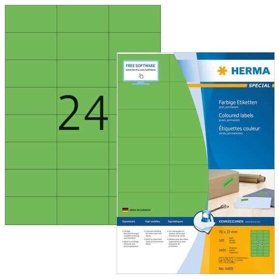 HERMA 4409 Farbige Etiketten A4 70x37 mm grün Papier matt 2400 Stück