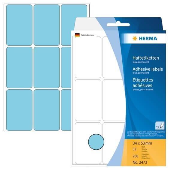 HERMA 2473 Vielzwecketiketten 34 x 53 mm Papier matt Handbeschriftung 288 Stück Blau