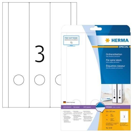 HERMA 5159 Ordneretiketten A4 59x297 mm weiß Papier matt blickdicht 75 Stück