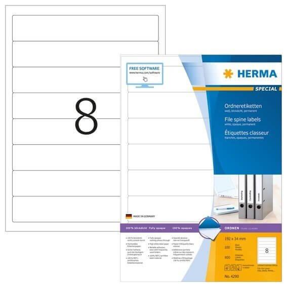 HERMA 4290 Ordneretiketten A4 192x34 mm weiß Papier matt blickdicht 800 Stück