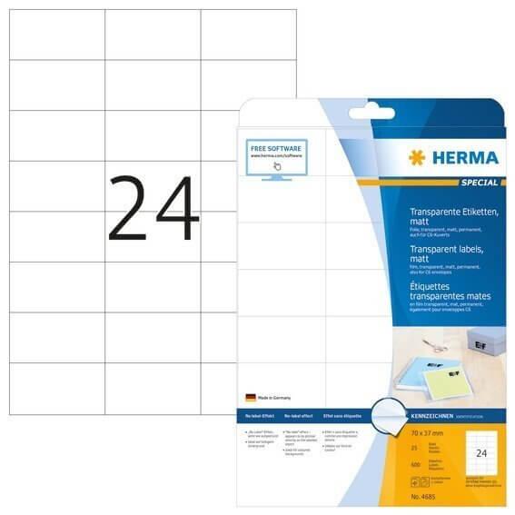 HERMA 4685 Etiketten transparent matt A4 70x37 mm Folie 600 Stück