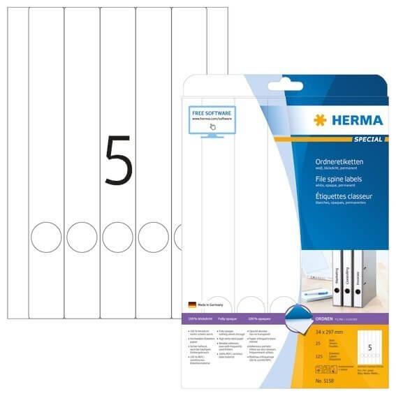 HERMA 5158 Ordneretiketten A4 34x297 mm weiß Papier matt blickdicht 125 Stück