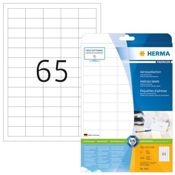 HERMA 4504 Adressetiketten Premium A4 381x212 mm runde Ecken weiß Papier matt 1625 Stück