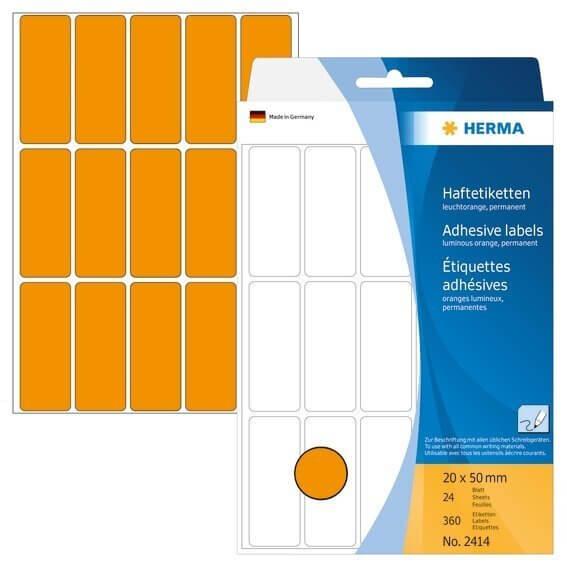 HERMA 2414 Vielzwecketiketten 20 x 50 mm Papier matt Handbeschriftung 360 Stück Leuchtorange