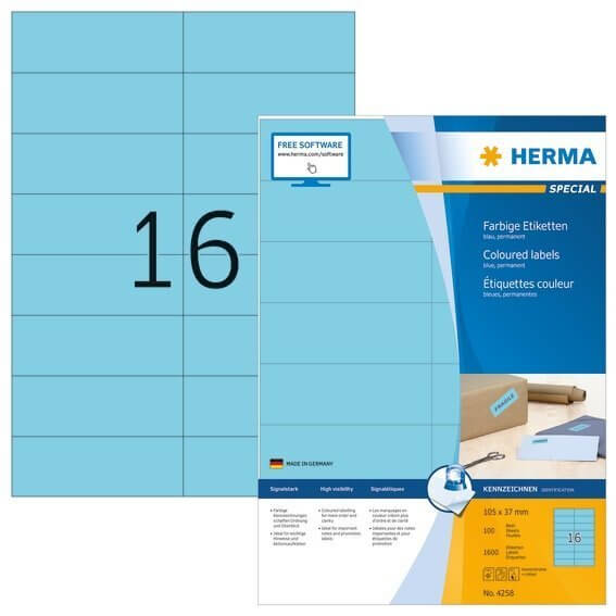 HERMA 4258 Farbige Etiketten A4 105x37 mm blau Papier matt 1600 Stück