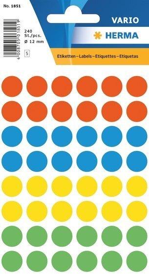 HERMA 1851 Vielzwecketiketten Ø 12 mm rund farbig sortiert Papier matt 2400 Stück