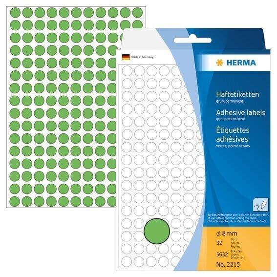 HERMA 2215 Vielzwecketiketten/Farbpunkte Ø 8 mm rund Papier matt Handbeschriftung 5632 Stück Grün