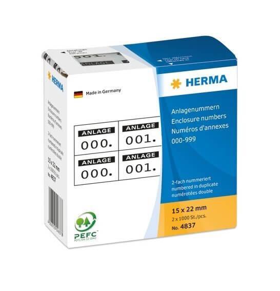 HERMA 4837 Anlagenummern selbstklebend 2-fach 15x22 mm Aufdruck schwarz 0-999