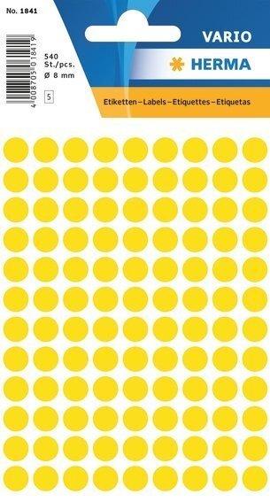 HERMA 1841 Vielzwecketiketten Ø 8 mm rund Papier matt 5400 Stück Gelb