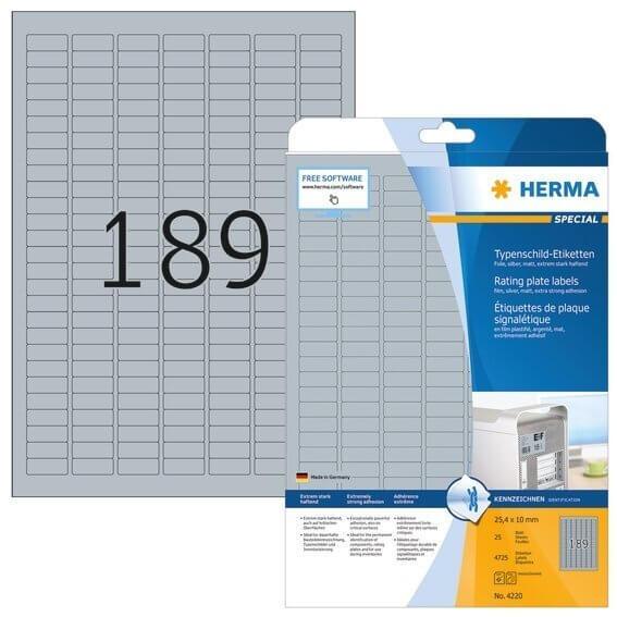 HERMA 4220 Typenschildetiketten A4 25x10 mm silber extrem stark haftend Folie matt 4725 Stück