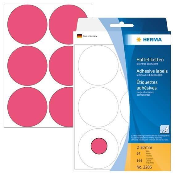 HERMA 2286 Vielzwecketiketten/Farbpunkte Ø 50 mm rund Papier matt Handbeschriftung 144 Stück Leuchtr