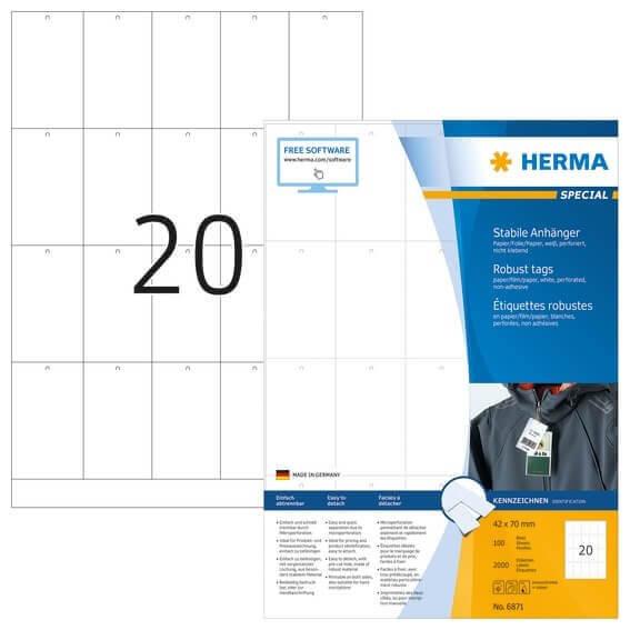 HERMA 6871 Stabile Anhänger A4 42x70 mm weiß Papier/Folie/Papier perforiert nicht klebend 2000 Stück