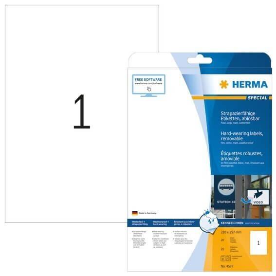 HERMA 4577 Wetterfeste Folien-Etiketten A4 2100x2970 mm ablösbar weiß matt strapazierfähig 20 Stück