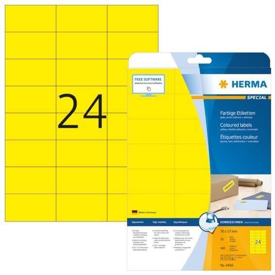 HERMA 4466 Farbige Etiketten A4 70x37 mm gelb ablösbar Papier matt 480 Stück