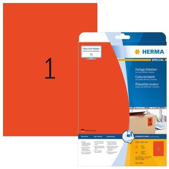 HERMA 4422 Farbige Etiketten A4 210x297 mm rot ablösbar Papier matt 20 Stück