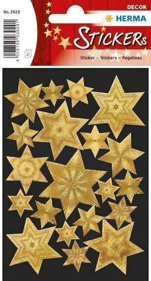 HERMA 3929 10x Sticker DECOR Sterne 6-zackig gold Gravurfolie