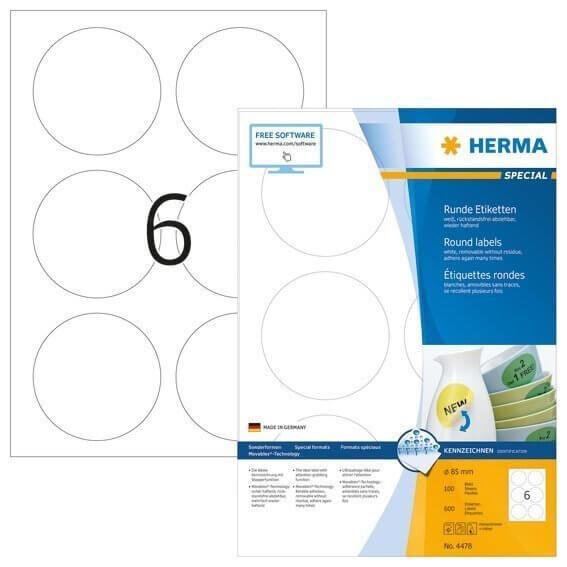 HERMA 4478 Ablösbare Etiketten A4 Ø 85 mm rund weiß Movables/ablösbar Papier matt 600 Stück
