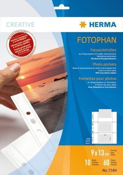 HERMA 7584 Fotophan Fotosichthüllen 9x13 cm quer weiß 10 Hüllen
